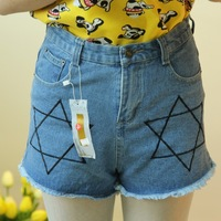 2013 light color loose embroidery denim high waist pants shorts