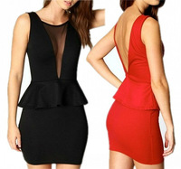 2PCS Sexy Contrast See-thru Mesh Backless Peplum Top + Fitted Skirt Bodycon Club Dress Free Shipping Wholesale
