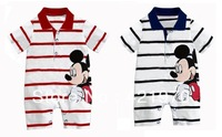 2013 Summer Mickey & Minnie Baby Striped Short Sleeve One-Piece Romper Baby Wear Size:70 80 90