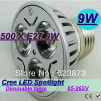 DHL ship New arrive high power super energy-saving CREE E27 9W 3*3W  85V-265V Led Light Lamp Led Spotlight Dwonlight bulb 500pcs