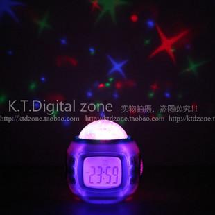 A741 music projection clock calendar clock blue screen colorful projection lamp alarm clock