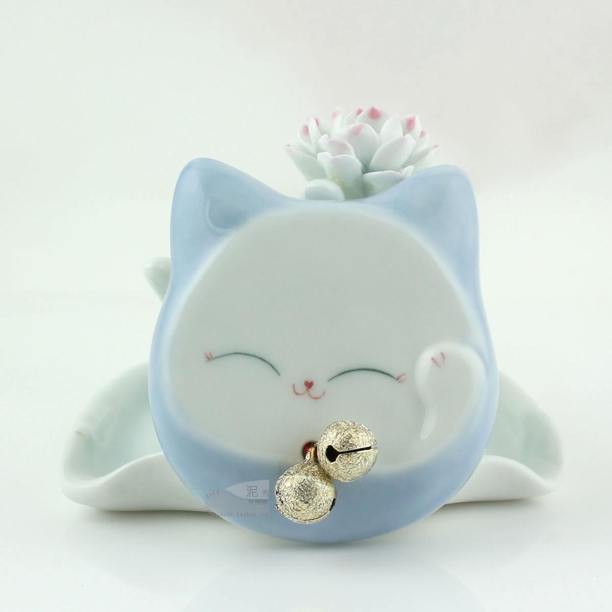 Blue small carry mirror original design ceramic handmade red cat portable makeup mirror folding dressing(China (Mainland))