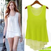 FREE SHIPPING 2014 summer women's loose plus size chiffon basic patchwork faux two piece basic vest chiffon shirt T245