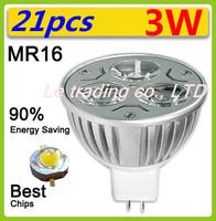21pcs/lot 12V 3W MR16 White LED Light Led Lamp Bulb Spotlight Spot Light Free shipping