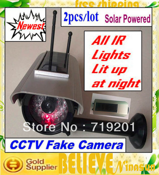 free shipping china post 2400 Solar Powered Fake Dummy Security CCD Bullet Camera with Red Blinking LED