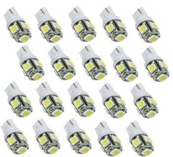Promotion, Wholesale 20PCS LED White T10 Wedge 5-SMD 5050 LED Light bulbs 192 168 194 W5W 2825 158, Free & Drop Shipping