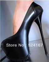 Fashion   popular sexy  plateform pumps high heel black genuine leather  women high heel shoes