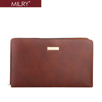 MILRY 100% Genuine Leather Men Large Wrist Bag Clutch bags wallet fashion new handbag brown H0029-2