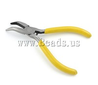 Free Shipping Iron Jewelry Plier, bent nose, with yellow plastic handle, 73x115x8mm, 10pcs/Lot , Sold by Lot