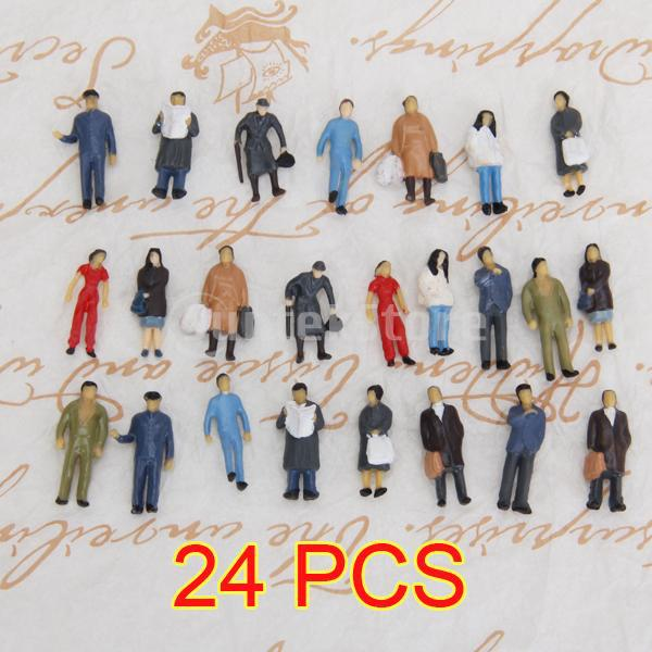 Free Shipping 24pcs Painted Model Train Standing Posture People Figures Scale HO (1 to 87) P87-12(China (Mainland))