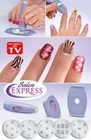 Free shipping 120 sets/lot salon Express As Seen On TV Nail Art Stamping Kit Nail Stencil Kit