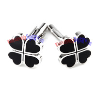 wholesale Hear Four-Leaf-Clover Stainless Steel Cufflinks Platinum Jewelry
