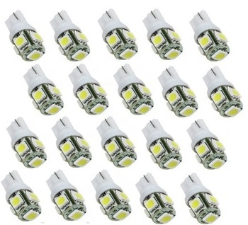 Wholesales 20PCS LED White T10 Wedge 5-SMD 5050 LED Light Bulbs 192 168 194 W5W 2825 158, Free & Drop Shipping