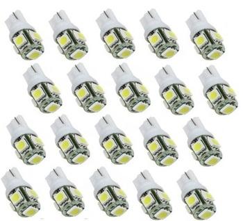 Wholesales 20PCS LED White T10 Wedge 5-SMD 5050 LED Light Bulbs 192 168 194 W5W 2825 158, Free & Drop Shipping