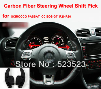 Free Ship real Carbon Fiber Steering Wheel Shift Picks for VW Golf Jetta GTI EPS R20 CC R36 SCIROCCO-