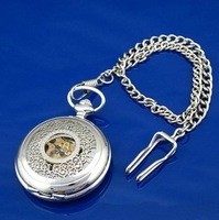 Rare Silver Hollow Flower Mechanical Pocket Watcht  automatic pocket watches Steampunk glass lockets antique big size