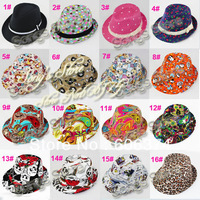 Various Styles Children Fedora Hat Fashion Baby Hat Kids Jazz Cap Infant Cowboy Hat Fedoras Headwear 10pcs/lot FH010