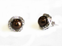 Stunning lady's 10mm coffee sea shell pearl 18 KGP stud earrings