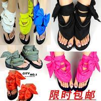 2013 solid color  slik  zip bandage straps wedges platform rubber sole flip flops shoes sandals woman
