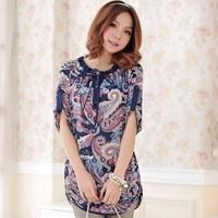 Drop Shipping Spring SUMMER  Women Printing ruffle collar Vintage Blouses,medium-long  Chiffon shirt Plus size L XL XXL XXXL 4XL