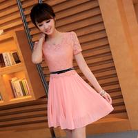 Freeshipping 2013 plus size clothing ol lace patchwork o-neck short-sleeve chiffon one-piece dress