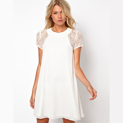 2013 New Women's Lace Back Patchwork White Elegant Package Button Chiffon One-Piece Dress 6 Size Free Shipping in Stock(China (Mainland))