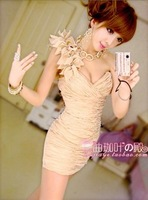 2013 sexy one shoulder motif breast enlargement slim hip body shaping tube top dress one-piece dress