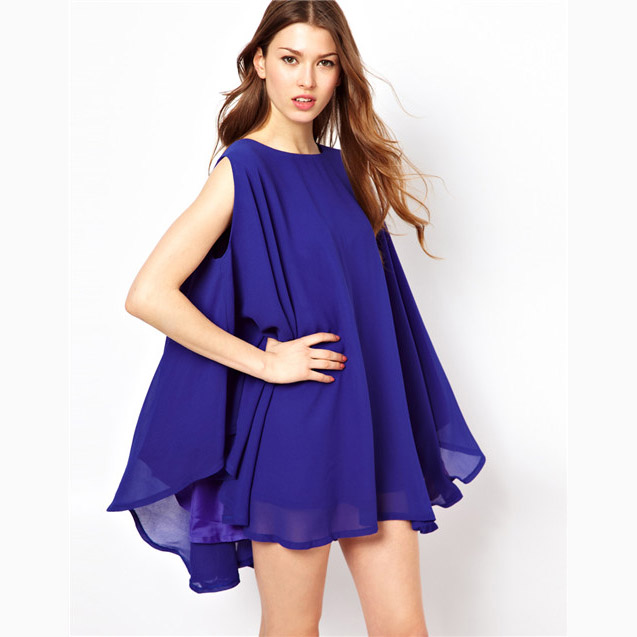 2013 New Women's solid color chiffon loose cloak sleeveless one-piece dress 6 Size Free Shipping in Stock(China (Mainland))