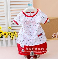 6 - 12 months old summer 0 - 1 - 2 years old female baby clothes infant short-sleeve shorts set