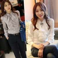2013 spring and summer women's lace decoration ol slim ruffle collar career shirt female white grey