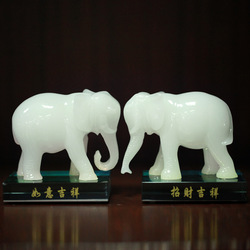 Jade resin elephant decoration elephant crafts a pair of lucky accessories derlook transhipment(China (Mainland))