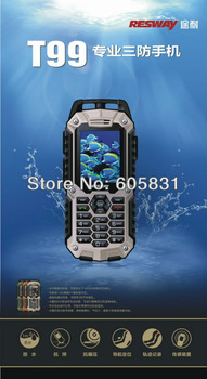 100% quality Real Waterproof Dustproof mobile phone RESWAY T99 GSM Dual SIM outdoor phone GPS soft PTT Compass Russian keyboard
