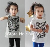 Free shipping 1 lot 5 pcs Baby Boys Girls Tiger Animal Print TOP T shirt , Cotton modal