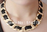 Ribbon Woven Curb Chain Necklace, Chunky Alloy Necklace ,Min order$12 ,Free Shipping