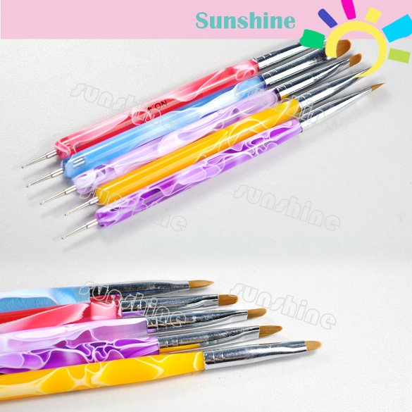 2012 New Arrival 5 pcs UV Gel Acrylic Nail Art Brush Set Tips Builder Multi-function Pen Design Free Shipping 3088(China (Mainland))