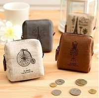 Minimum order $10 freeshipping Vintage Paris memory square coin and key purse zero wallet card sets key fob purse,4 colors