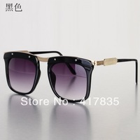 2013 new thick metal frame tide sunglasses tide unisex retro metal glasses sunglasses Free Shipping     Black