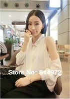 Best selling!!fashion trendy women shirt Punk Stud rivet collar casual chiffon strapless blouse Free Shipping