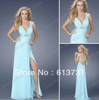 Elegant Light Blue Sexy Deep V-neck Side Slit Cut Out Back Empire Long Chiffon Prom Dress 2013 New Arrival Free Shipping
