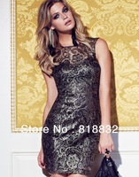 Free Shipping New Arrival 2013 Spring Summer Fashion Women's  Black Lace Dresses  Slim Fit Vintage Bohemian One Piece Dress