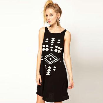 2015 Hot Sale Women Dress Geometry Pattern Printed Rounder Collar Sleeveless Loose Casual Short Style Women Mini Dress  D093