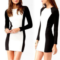 FREE SHIPPING Women Lady Sexy Black White Stretch Bodycon Long Sleeve Party Pencil OL Dress 11169