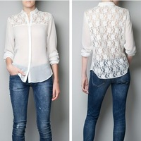 SEXY LONG SLEEVE PERSPECTIVE  LACE CHIFFON SHIRT BLOUSE,1204
