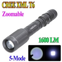 Trustfire Z5 Flashlight 5 Mode 1600 Lumens CREE XM-L T6 LED Flashlight 18650 Battery Zoomable Flashlight Adjustable Torch lamp