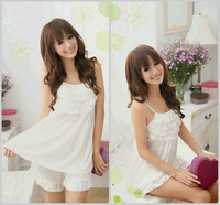 ruffle sexy sleepwear female spaghetti strap nightgown lounge bathrobe set best quality sleeveless  100% ice silk pajamas