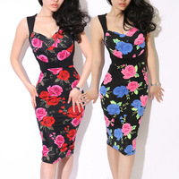 2013 spring &amp; summer female stereo cup vintage rose racerback tight-fitting wedding dress skirt for women ladys sexy party dress