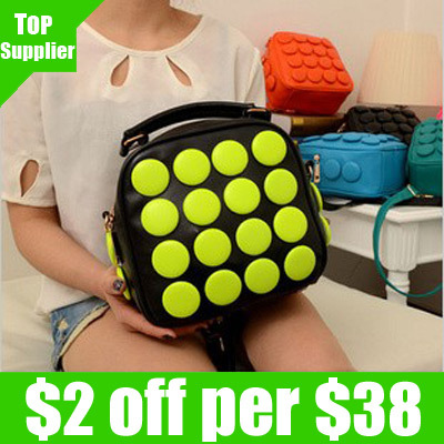 Free shipping 1pcs/lot 2013 new candy color fashion handbag neon button double backpack shoulder tote messenger bag for women(China (Mainland))
