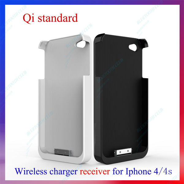 New arrive Qi Inductive Wireless Charger Receiver for iPhone 4 4S Black & White Free Shipping Drop Shipping(China (Mainland))