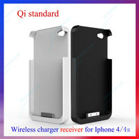 New arrive Qi Inductive Wireless Charger Receiver for iPhone 4 4S Black & White Free Shipping Drop Shipping