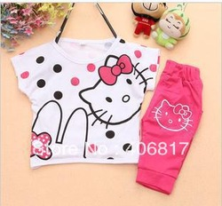 Hot Sale O-neck Sleeveless Cartoon Monkey Print t Shirt Short Pants Child Kids Suit Boy Girls Clothes Clothing Free Shipping(China (Mainland))